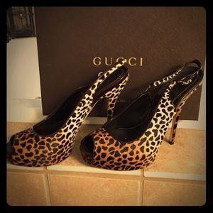 Gucci Shoes - Gucci Sophia Pony Hair Slingbacks!